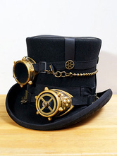 Anime Costumes AF-S2-648417 Steampunk Top Hat Black Vintage Chain Retro Costume Accessories With Goggle