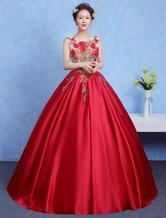 Vestido para quinceañeras Color rojo rubí con escote redondo sin mangas con aplicación