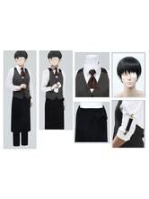 Anime Costumes AF-S2-648805 Tokyo Ghoul Tokyo Ghoul Kaneki Ken Cosplay Costume Cafe House Waiter Version