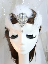 Anime Costumes AF-S2-649061 White Feather Headpiece Crystal Ballet Costume Hairpin Set