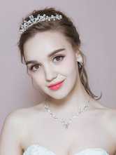 Anime Costumes AF-S2-649057 White Ballet Tiara Rhinestone Alloy Crown Comb Headpiece