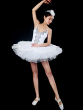 Anime Costumes AF-S2-649085 Lace Ballet Dress White Beading Pleated Camisole Ballet Dance Party Dresses