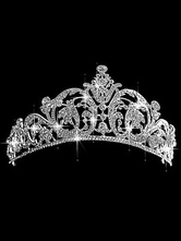 Anime Costumes AF-S2-649073 White Ballet Tiara Rhinestone Alloy Crown Comb Headpiece