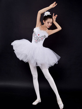 Anime Costumes AF-S2-649097 Ballet Tutu Dress White Sequin Beading Camisole Ballet Dance Party Dresses