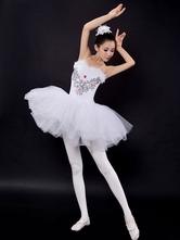 Anime Costumes AF-S2-649097 Ballet Tutu Dress White Sequin Beading Camisole Ballet Dance Party Dresses