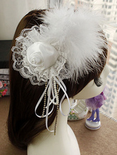 Anime Costumes AF-S2-649071 Ballet Feather Headpiece White Lace Flower Hairpin