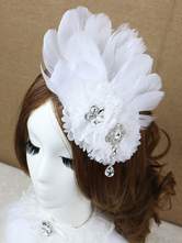 Anime Costumes AF-S2-649067 White Feather Headpiece Drop Crystal Ballet Costume Hairpin