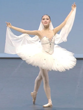 Anime Costumes AF-S2-649093 White Ballet Dress Beading Camisole Ballet Dance Costume Party Dresses