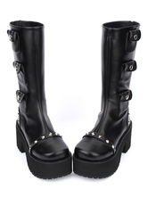 Lolitashow Black Lolita Boots Chunky Heel Mid Calf Platform Gothic Lolita Boots With Embellished Pockets
