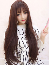 Sweet Lolita Wigs Brown Long Straight Blunt Bangs Synthetic Hair Wigs