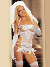 Anime Costumes AF-S2-650825 Sexy Bride Costume Halloween White Lace Cupless Halter Strappy Bow Wedding Costume Outfit