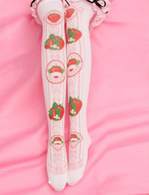 Lolitashow Sweet Lolita Stockings Pink Printed Lolita Knee High Socks