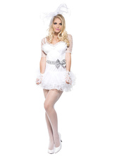 Anime Costumes AF-S2-650821 Halloween Bride Costume Sexy White Illusion Short Sleeve Bow Sash Bridal Wedding Dress Costume Outfit