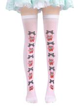 Lolitashow Sweet Lolita Socks Pink Printed Lolita Knee High Socks