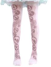 Lolitashow Sweet Lolita Socks Light Pink Printed Lolita Stocking