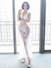 Anime Costumes AF-S2-650827 Halloween Sexy Bride Costume White Tulle Sheer Long Wedding Dress Costume