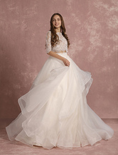 2 Piece Wedding Dress Lace Organza Backless Summer Wedding Dresses 2021 Half Sleeve A Line Tiered Bridal Dress With Court Train Milanoo