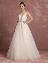 Vestido de noiva laço flores Applique tule A linha do pescoço frisada Sash espaguete correias