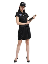 Anime Costumes AF-S2-653985 Halloween Cop Costume Black Top With Skirt And Hat Policewoman Costume