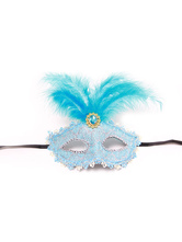 Anime Costumes AF-S2-653873 Halloween Masquerade Masks Blue Women's Feathers Beaded Mardi Gras Eye Mask Costume Accessories
