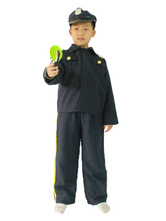 Anime Costumes AF-S2-653995 Halloween Cop Costume Deep Blue Top With Pants And Hat Prison Guard Costume For Kids