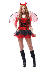 Anime Costumes AF-S2-653919 Red Demon Costume Sexy Halloween Fancy Dress Outfits For Women