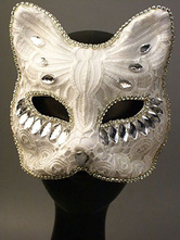Anime Costumes AF-S2-653837 Halloween White Masks Beaded Women's Masquerade Eye Mask Mardi Gras Costume Accessories