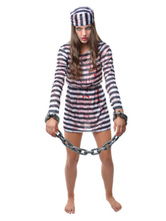 Anime Costumes AF-S2-653991 Halloween Zombie Prisoner Costume Black And White Striped Convict Costume For Women