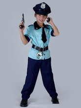 Anime Costumes AF-S2-653977 Halloween Cop Costume Blue Short Sleeve Top With Pants Kids' Prison Guard Costume
