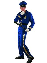 Anime Costumes AF-S2-653979 Halloween Cop Costume Deep Blue Prison Guard Costume For Men