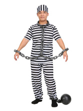 Anime Costumes AF-S2-653997 Halloween Prisoner Costume Black And White Striped Convict Costume