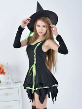 Anime Costumes AF-S2-653881 Women's Halloween Costume Demon Irregular Sleeveless Tiered Short Dress With Hat And Arm Cover