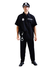 Anime Costumes AF-S2-653987 Halloween Cop Costume Black Policeman Costume With Handcuffs