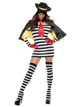 Anime Costumes AF-S2-653955 Halloween Sexy Prisoner Costume Black And White Striped Mini Dress Cosplay Costume In 5 Piece Set