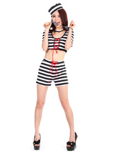 Anime Costumes AF-S2-653943 Halloween Sexy Prisoner Costume Black And White Striped Crop Top With Shorts In 5 Piece Set