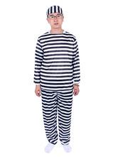 Anime Costumes AF-S2-654017 Halloween Prisoner Costume Men's Stripe Convict Costume