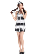 Anime Costumes AF-S2-653939 Striped Sexy Prisoner Costume Halloween Women's Fancy Dress Outfits