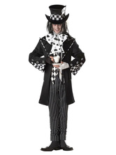 Anime Costumes AF-S2-654019 Halloween Alice In Wonderland Costume Men's Mad Hatter Checker Cosplay Costume
