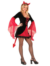 Anime Costumes AF-S2-653917 Sexy Demon Costume Halloween Two Tone Flare Dress For Women