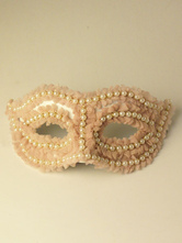 Anime Costumes AF-S2-653833 Pink Mask Costume Halloween Women's Beaded Mardi Gras Masquerade Eye Mask Costume Accessories