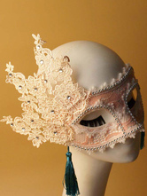 Anime Costumes AF-S2-653869 Pink Masquerade Mask Halloween Women's Beaded Flowers Mardi Gras Eye Mask With Tassels