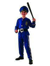 Anime Costumes AF-S2-653981 Halloween Cop Costume Kids' Deep Blue Prison Guard Costume