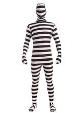 Anime Costumes AF-S2-654033 Halloween Prisoner Costume Men's Stripe Convict Catsuit Costume
