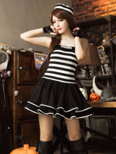 Anime Costumes AF-S2-653969 Halloween Sexy Prisoner Costume Black Off The Shoulder Sleeveless Pleated Dress Women's Convict Costume