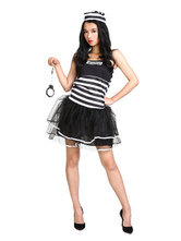 Anime Costumes AF-S2-654001 Halloween Prisoner Costume Women's Stripe Dress Convict Costume