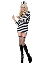 Anime Costumes AF-S2-653989 Sexy Prisoner Costume Black And White Striped Convict Halloween Costume