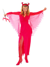 Anime Costumes AF-S2-653923 Halloween Sexy Demon Costume Rose Red Slit Fancy Dress For Women