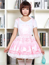 Lolitashow Sweet Lolita Dress SK Pink Lolita Dress The Cat Under The Tree Printed Lace Hem Lolita Skirt