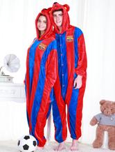 Anime Costumes AF-S2-654631 Kigurumi Pajamas World Cup Barcelona Football Team Onesie Red Long Sleeve Jumpsuit Sleepwear Costume For Adults