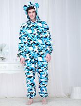 Anime Costumes AF-S2-654575 Kigurumi Onesie Pajamas Adult Blue Camo Military Costume Sleepwear